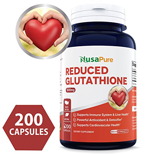 Best Reduced Glutathione 500mg – 200 Capsules Non-GMO & Gluten Free – L-Glutathione Antioxidant Support Liver Health & Detox – Max Strength L Glutathione Pills Help Immune & Brain Function
