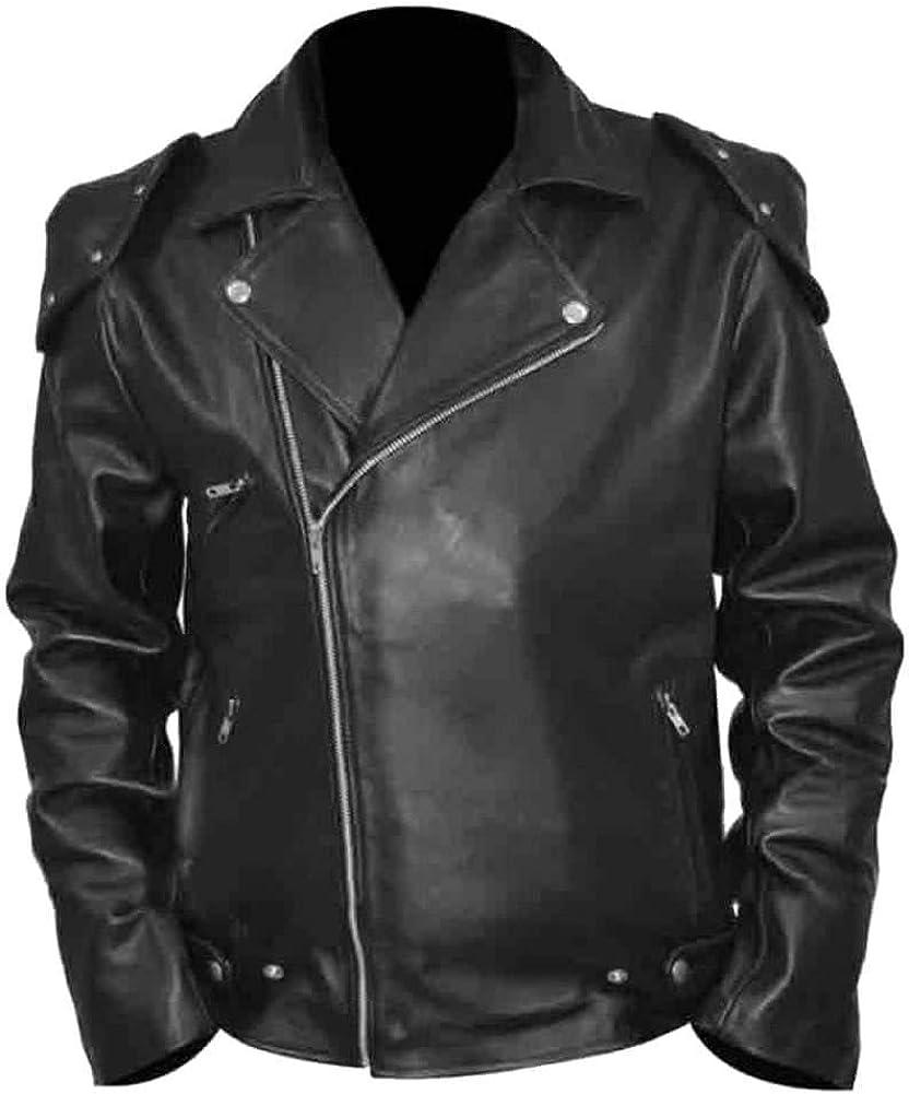 SleekHides Mens Fashion Brando Style Biker Jacket