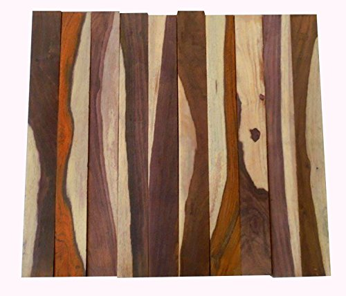 (4 cocobolo rosewood turning squares with white wood, 2 x 2 x 12 inches long)