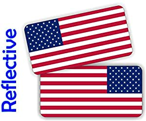 (2x) REFLECTIVE American Flag Hard Hat Stickers | Motorcycle Helmet Flags | Decals | Labels Toolbox Safety Patriotic Old Glory Flags