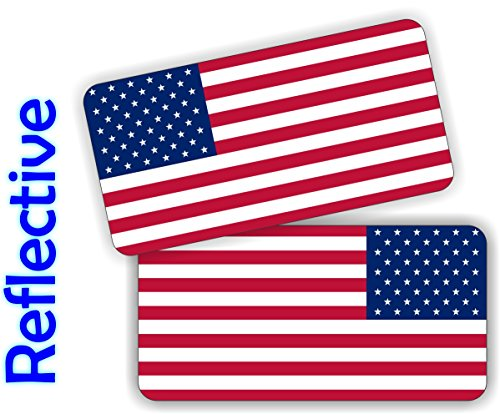 Pair - REFLECTIVE USA American Flag Vinyl Decals | Hard Hat Motorcycle Dirt Bike Safety Helmet Stickers | AR15 Lower | Tool Box