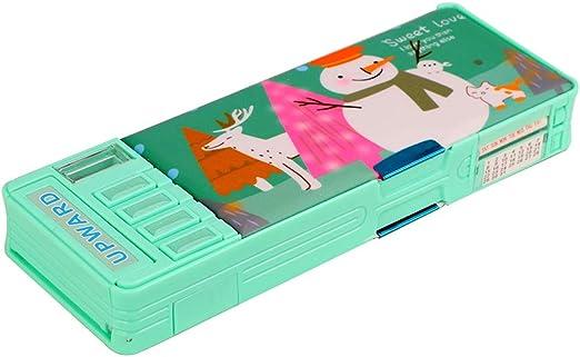Estuche escolar para niños con sacapuntas retráctil automático, con doble piso, color verde: Amazon.es: Oficina y papelería