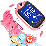 Waterproof Smart Watch for Kids GPS Tracker – [Free SIM Crad] Boys Girls Smartwatch Phone with Two-Way Call GPS/LBS Double Positioning Tracker Sport Wrist Watch Learning Toy Birthday Gifts