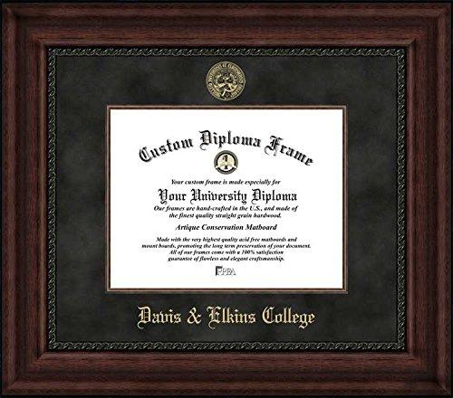 Laminated Visuals Davis & Elkins College Senators - Embossed Seal - Suede Mat - Mahogany - Diploma Frame