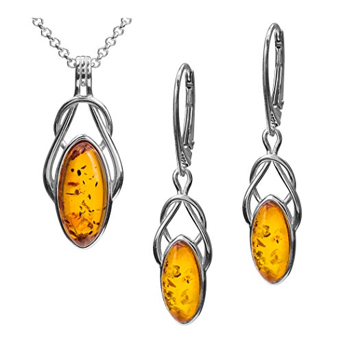 Amber Sterling Silver Celtic Leverback Earrings Pendant Necklace Set Chain 18