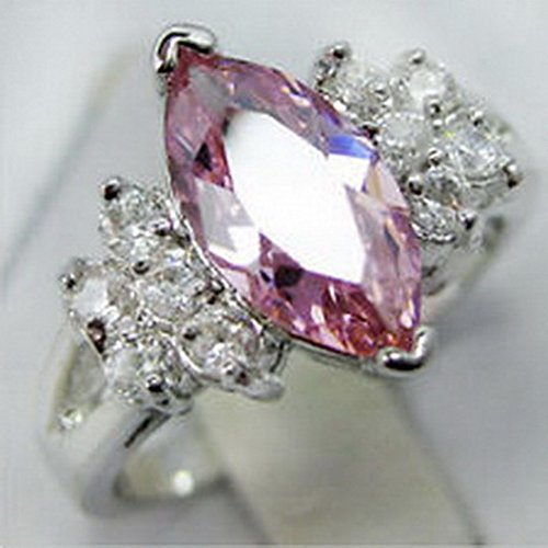 - jacob alex ring Size6 Marquis Cut Pink Sapphire 10Kt White Gold Filled Wedding Party Ring