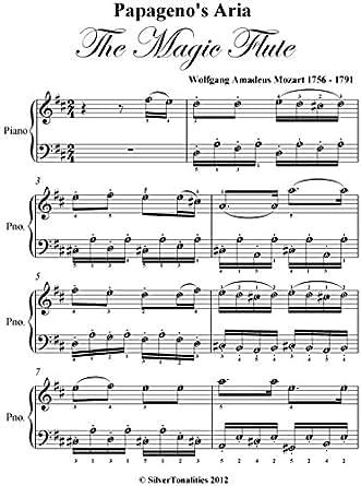 Amazoncom Papagenos Aria Magic Flute Mozart Easy Piano Sheet