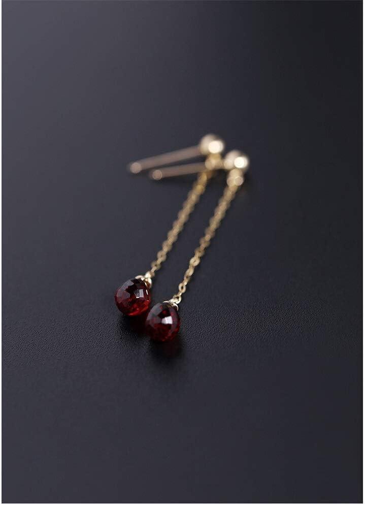 nc56 Pendientes de gota de agua facetada con piedras preciosas para mujer, oro de 14 quilates, color granate, tamaño por perla: otros)
