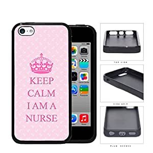 Keep Calm I Am A Nurse Quote Pink Color Background iPhone 5c Rubber Silicone TPU Cell Phone Case