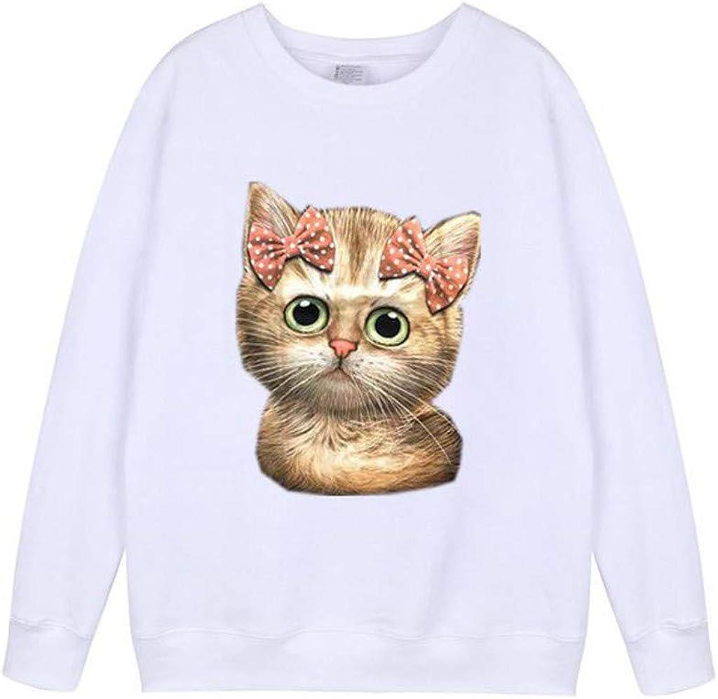 TUDUZ Sudadera Mujer Manga Larga Camisa Impresión del Gato Top Blusa Otoño e Invierno: Amazon.es: Ropa y accesorios