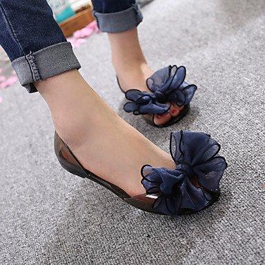 LvYuan Mujer-Tacón Plano-Confort-Sandalias-Casual-PVC-Negro / Azul / Rojo / Champán Blue