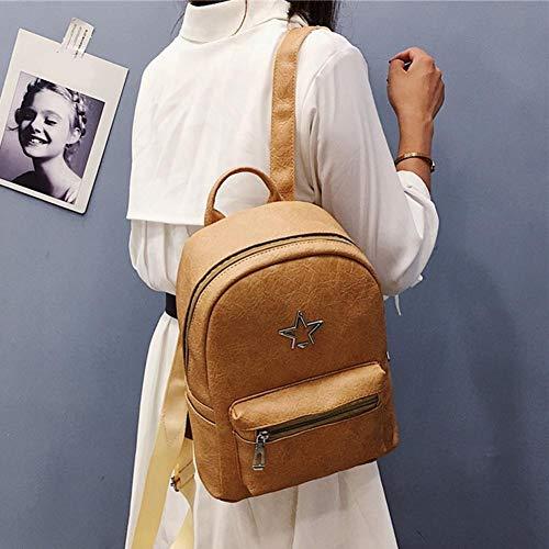 Leather PU Travel Mini Bag Brown Women Rucksacks School Backpacks akaddy Daypack Girls Retro Zipper BFxX6H
