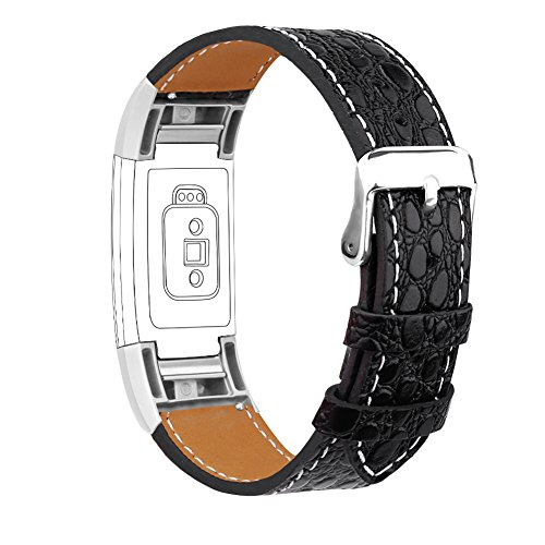 For Fitbit Charge 2 Bands, Genuine Leather Replacement Bands for Fitbit Charge 2 New Black Stone with Metal Connectors