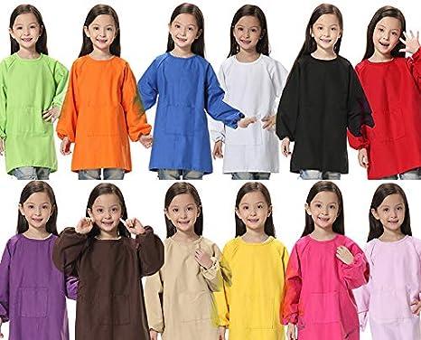 POAO Mode Polyester Enfants Enfants Cuisine Cuisson Tablier Peinture Tablier Bébé Art Cuisiner Bavoir avec Une Poches (S 2-6 années)
