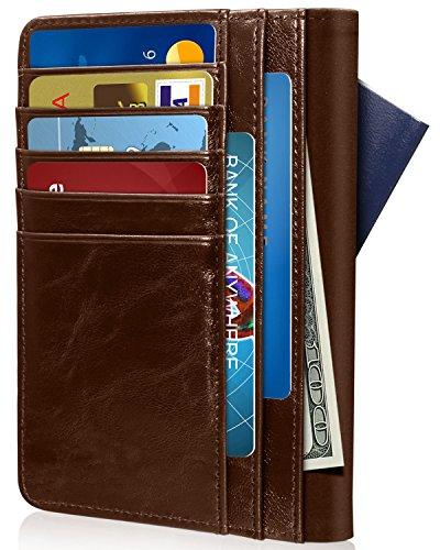 RFID Blocking Passport Holder (9 Slots), GreatShield Theft Proof Leather Wallet [5 Credit Card Slots | 3 Cash Compartments | 1 Passport Slot] for Men & Women – Brown by GreatShield (Image #5)