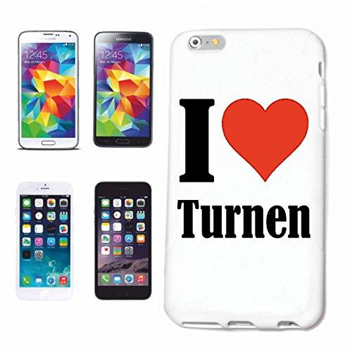 """Handyhülle iPhone 5 / 5S """"I Love Turnen"""" Hardcase Schutzhülle Handycover Smart Cover für Apple iPhone … in Weiß … Schlank und schön, das ist unser HardCase. Das Case wird mit einem Klick auf deinem Sm"""