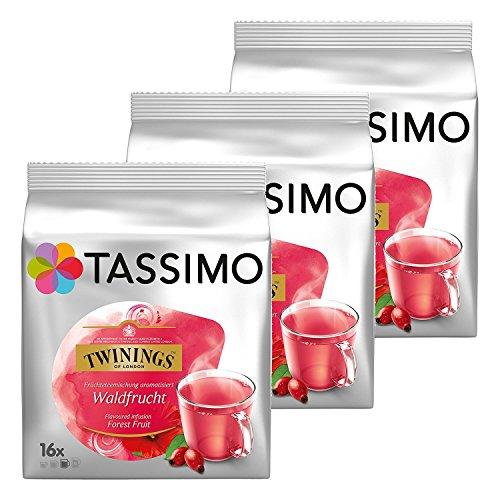 Tassimo Twinings Te de Frutas del Bosque, Paquete de 3, 3 x 16 T-Discs