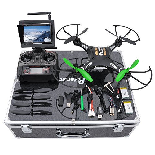 RC Quadcopter, Potensic F183DH Drone RTF Altitude Hold UFO with Newest Hover Function,2MP Camera& 5.8Ghz FPV LCD Screen Monitor & Drone Carrying Case-(Green) by Potensic