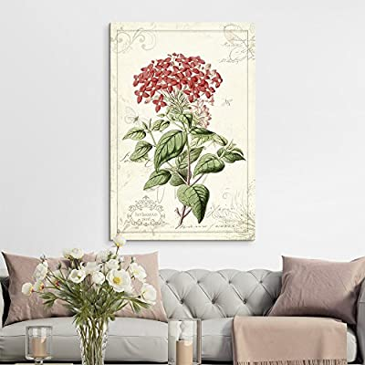 Vintage Style Plant with Red Flowers, Premium Creation, Astonishing Portrait