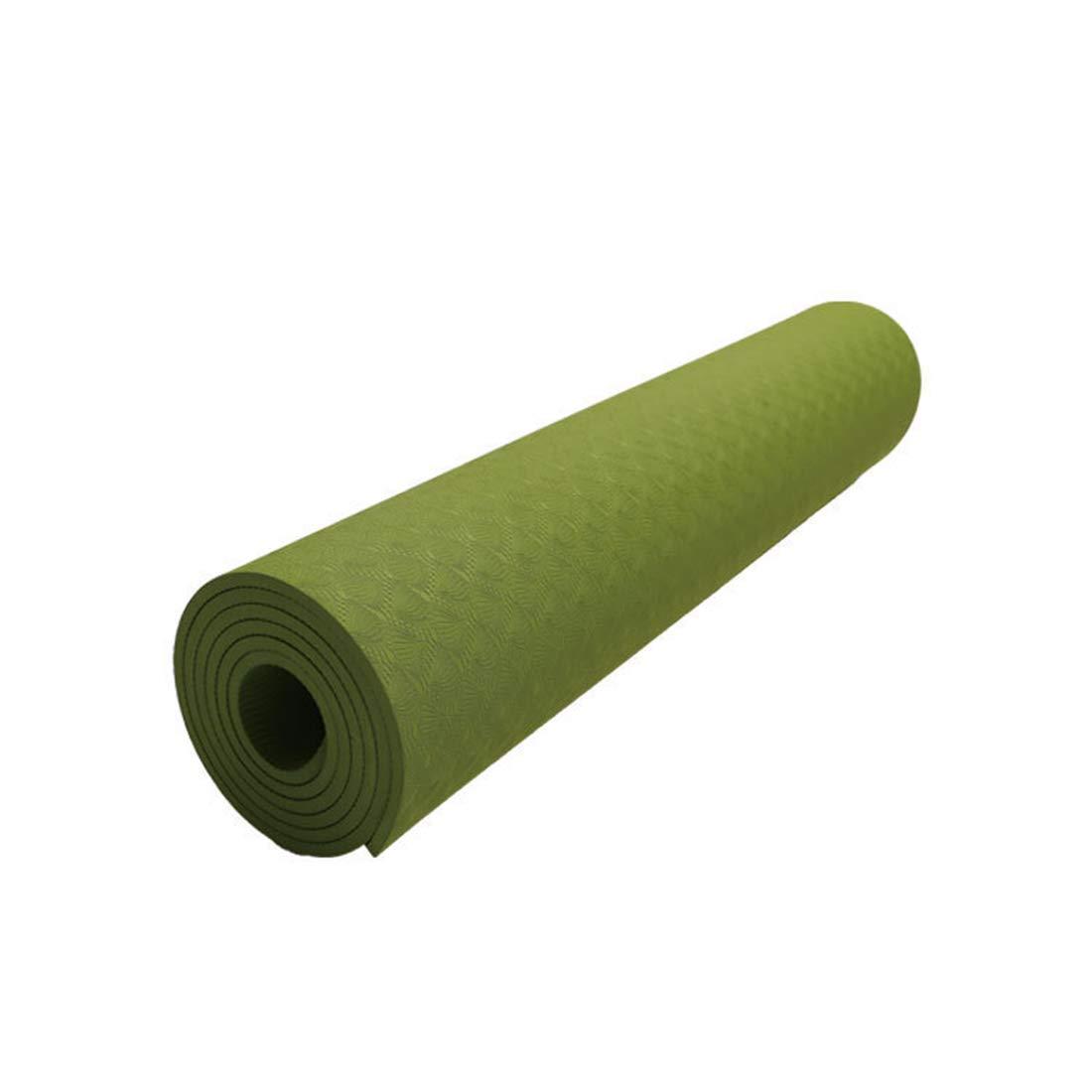Ovesuxle Yogamatte Umweltfreundliche TPE8mm Sportmatte Geeignet für die Turnhallenfamilie (Farbe   Grün, Größe   183cm)