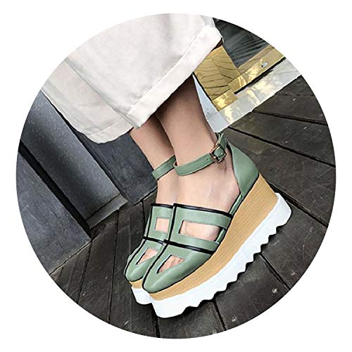 Cork Platform Pumps - Flatform Cork Ankle Strap Women Closed Toe Platform Roman Shoes Pumps Vintage Gladiator Sandals Heels,Green,38