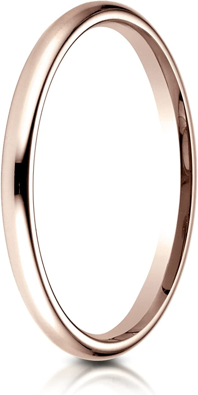 Benchmark 14K Rose Gold 2mm Slightly Domed Standard Comfort-Fit Wedding Band Ring Sizes 4-15