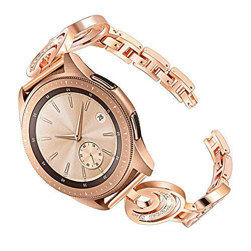 Diamonds Womens 20 Watch (for Galaxy Watch 42mm Women Bands, TRUMiRR Jewelry Bangle Watchband Crystal Diamond Stainless Steel Strap Feminine Cuff Bracelet for Samsung Galaxy Watch 42mm Gear S2 Classic, Rose Gold)