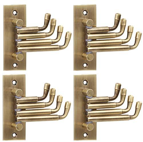 DOCOSS  Pack of 4 Stainless Steel Flexible Antique Brass Bathroom Hanger Cloth Hooks Wall Hook Door Robe Hooks for Hanging Keys,Clothes,Towel Steel Ho