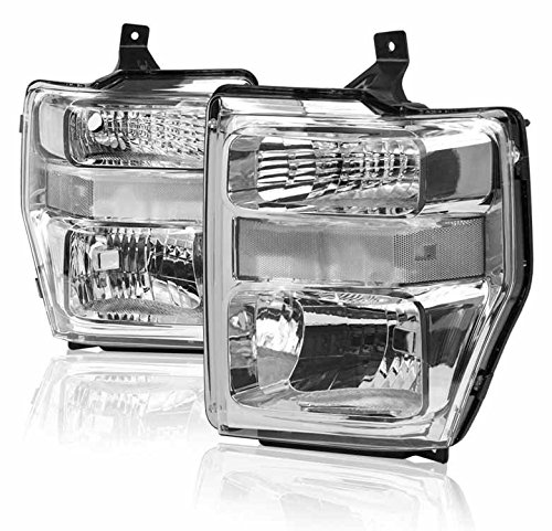 ZMAUTOPARTS Ford Super Duty Crystal Headlights Lamps Chrome F250 F350 F450 F550
