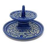 AshenWren Ceramics Small Tiered Jewelry Holder, Sapphire Blue