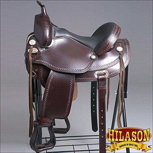 TT102 HILASON FLEX-TREE TRAIL PLEASURE ENDURANCE WESTERN LEATHER HORSE SADDLE 16