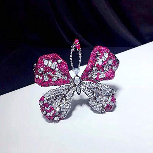 Luxury Synthetic Cubic Zirconia Brooch S925 Sterling Silver,Anniversary Gifts Silver Brooch Butterfly Brooch Brooches Art Deco