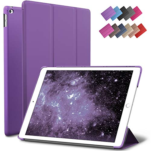 (iPad Air 2 Case, ROARTZ Purple Slim Fit Smart Rubber Coated Folio Case Hard Shell Cover Light-Weight Auto Wake/Sleep for Apple iPad Air 2nd Generation A1566/A1567 Retina Display)