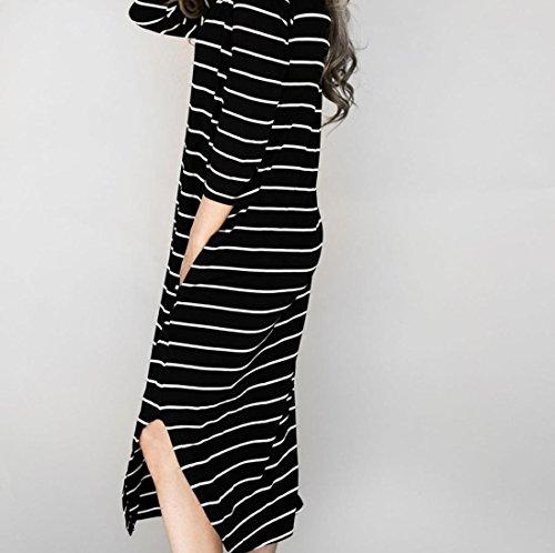 Jerseykleid lang gestreift