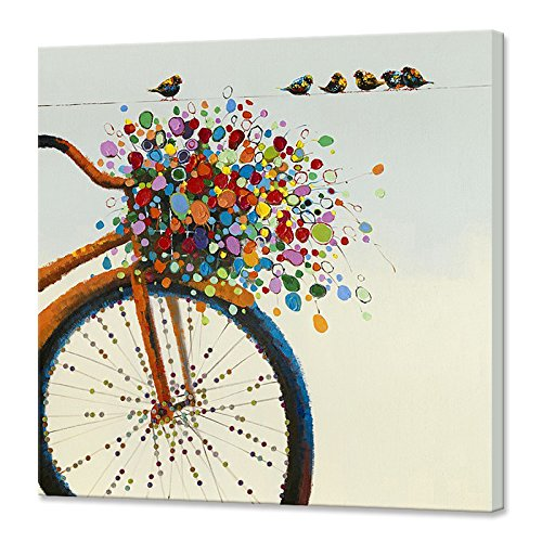 Chadow Home Decor CHADOW - Still Life Floral Colorful Flower and Bird on Bicycle 100% Hand Painted Oil Painting with Stretched Frame Wall Art 24 x 24 Inch