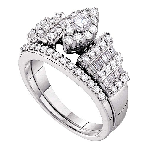 Size 7 - 14K White Gold Large Diamond Marquise Shape Center Setting Ladies Bridal Engagement Ring with Matching Wedding Band Two 2 Ring Set - Solitaire Setting w/ Channel Invisible Set Round & Baguette Diamonds - (1.03 cttw)