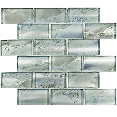 "SomerTile GFNSSSSL Superior Super Subway Glass Mosaic Wall Tile, 12"" x 13.75"", Silver/Blue"