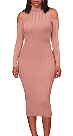 00bb1fddd95 heymoney Womens Sexy Turtleneck Cold Shoulder Ribbed Long Sleeve Knit  Sweater Dresses Bodycon Tops 1 XS
