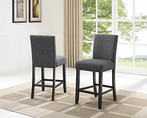 Biony Gray Fabric Counter Height Stools with Nailhead Trim, Set of 2 (Fabric Grey Counter Stools)