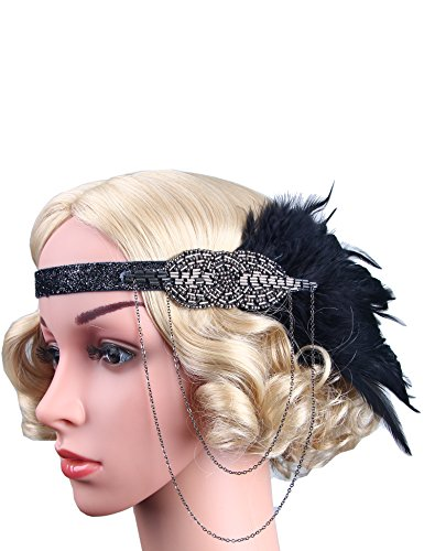 Flapper Girl Black Feather Headpiece 1920s Flapper Headband