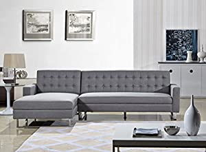 Us pride furniture dorris gray fabric for Amazon sectional sofa with chaise