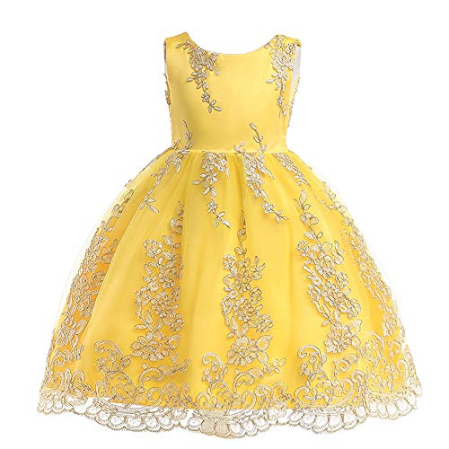 Easter Dresses Yellow Baby Girls Toddler Pageant Vintage Embroidery Floral Toddler Wedding Bridal Dress M15B130