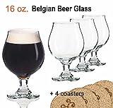 beer belgian glasses - Libbey Beer Glass Belgian Style Stemmed Tulip - 16 oz Lambic Beer Glasses - set of 4 w/coasters