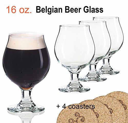 Libbey Beer Glass Belgian Style Stemmed Tulip - 16 oz Lambic Beer Glasses - set of 4 w/coasters Belgian Style Ale