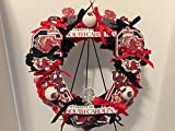 COLLEGE PRIDE - SPIRIT - USC - UNIVERSITY OF SOUTH CAROLINA - GAMECOCKS - COCKY - DORM DECOR - DORM ROOM - COLLECTOR WREATH - RED CARNATIONS AND BLACK ROSES