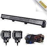 TURBOSII LED Light Bar 44 Inch 288W Spot Flood Combo LED Driving Lamp Off Road Lights + 4