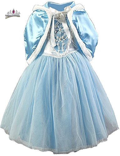 Cohaco Girl's Princess Cinderella Costume Light Blue Party Dress Cape Tiara Clip Set (Winter Fairy Costumes)