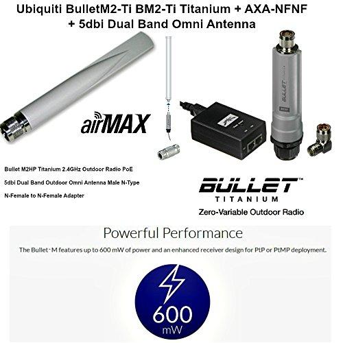 Ubiquiti BulletM2-Ti BM2-Ti Titanium + AXA-NFNF + 5dbi Dual Band Omni Antenna by Ubiquiti Networks