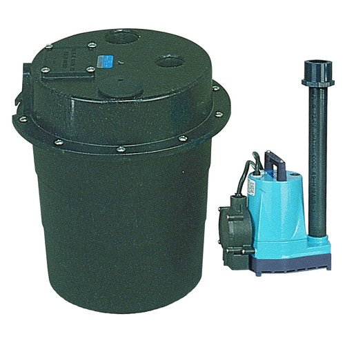 WRS-5-1/6 HP, 15 GPM @ 5' Submersible Utility Pump, Water Removal System w/ 5 gal. Tank & 10ft Power (Little Giant Intake Filter)