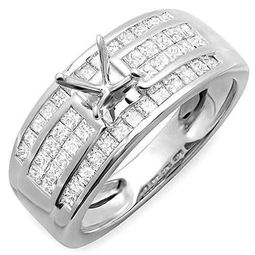 Gold Invisible Mount Set Semi - 1.25 Carat (Ctw) 14K Whilte Gold Invisible Set Princess Diamond Bridal Engagement Semi Mount Ring (No Center Stone)